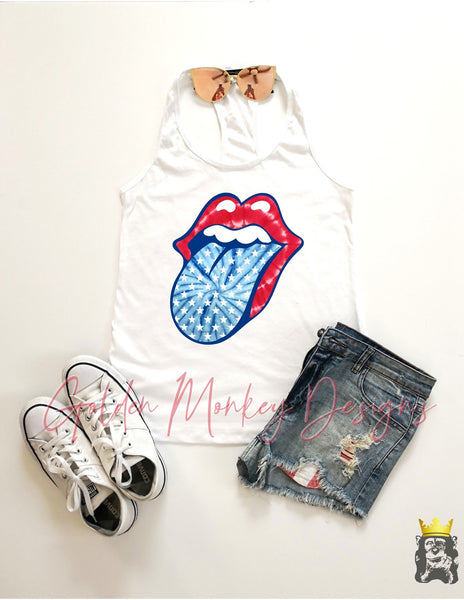 Patriotic Lips and Tongue TANK & TEE OPTIONS
