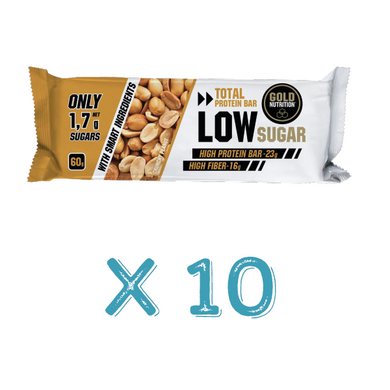 Barra Proteína Gold Nutrition Low Sugar Crunchy Peanut X10