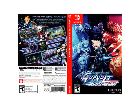 Azure Stricker Gunvolt Stricker Pack - Custom Nintendo Switch Art Cover