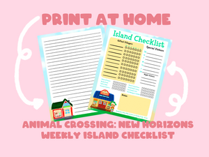 Animal Crossing: New Horizons Weekly Island Checklist | Nintendo | Planner | Kawaii | Bullet Journal