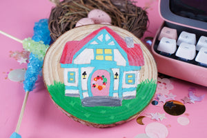 Dream Home: Animal Crossing - Hand Painted Wood Slice