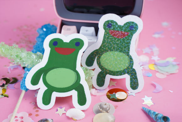 Animal Crossing - Froggy Chair VINYL Sticker Holographic or Gloss