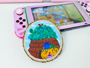 Stardew Valley Junimo - Hand Painted Wood Slice