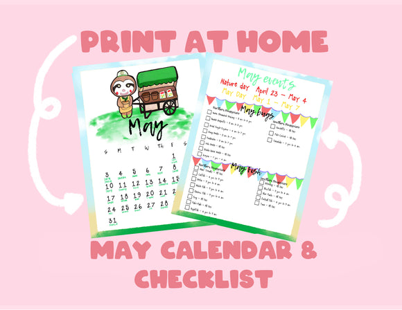 Animal Crossing: New Horizons May Calendar & Checklist | Nintendo | Planner | Kawaii | Bullet Journal