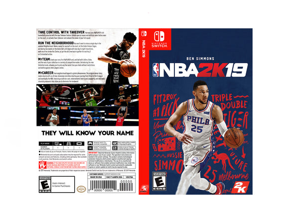 NBA 2k19 - Custom Nintendo Switch Art Cover