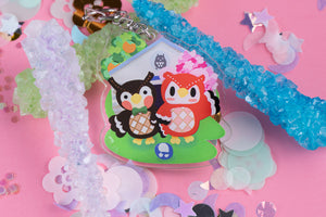 "Celeste and Blathers 2.5"" DOUBLE SIDED Acrylic Charm 