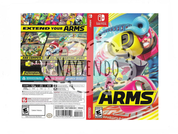 Custom Nintendo Switch Art Cover w/ Game Case - Arms