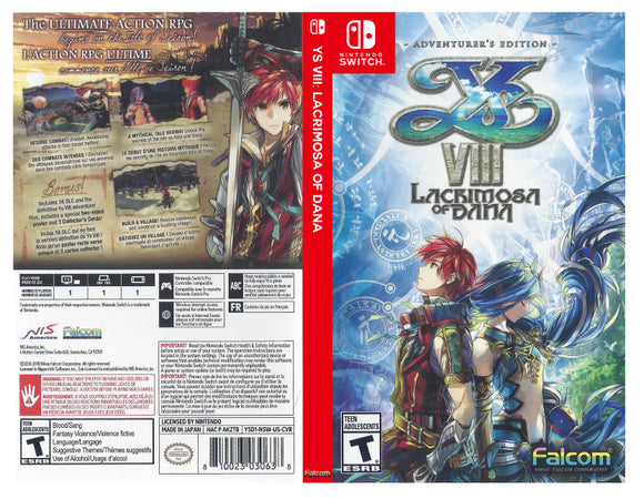 Custom Nintendo Switch Art Cover w/ Game Case - YS VIII: Lacrimosa of Dana
