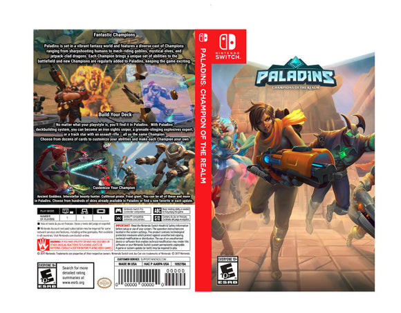 Custom Nintendo Switch Art Cover w/ Game Case - Paladins: Champions of the Realm