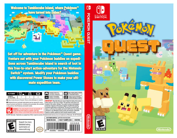 Custom Nintendo Switch Art Cover w/ Game Case - Pokemon Quest