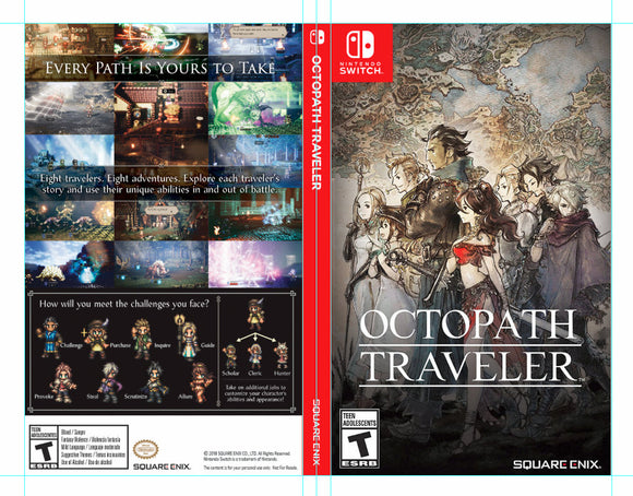 Custom Nintendo Switch Art Cover w/ Game Case - Octopath Traveler