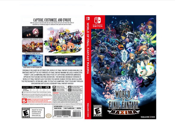 Custom Nintendo Switch Art Cover w/ Game Case - World of Final Fantasy Maxima