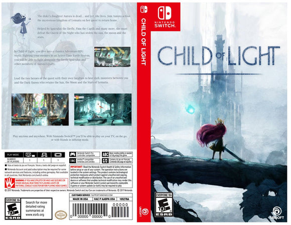 Custom Nintendo Switch Art Cover w/ Game Case - Child of Light