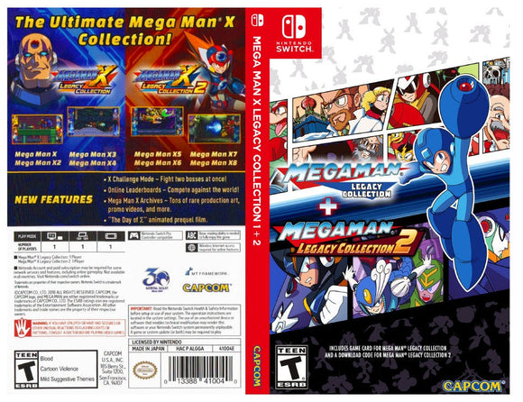 Custom Nintendo Switch Art Cover w/ Game Case - Mega Man X Legacy collection 1 + 2