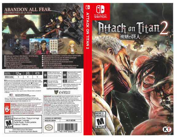 Attack on Titan 2 - Custom Nintendo Switch Art Cover