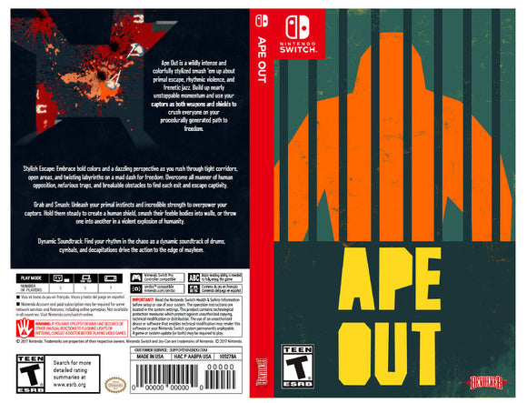 Ape Out - Custom Nintendo Switch Art Cover w/ Game Case