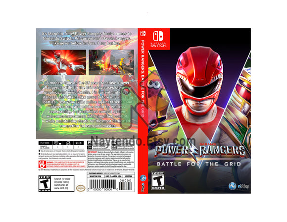 Power Rangers: Battle for the Grid - Custom Nintendo Switch Art Cover w/ Game Case