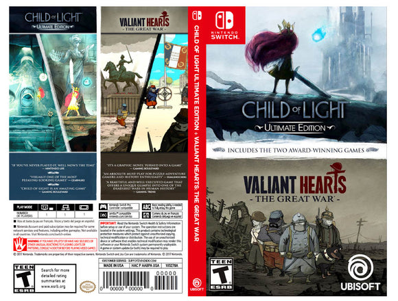 Child of Light Ultimate Edition + Valiant Hearts: The Great War - Custom Nintendo Switch Art Cover w/ Game Case