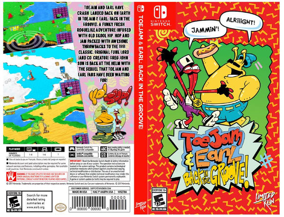 Toe Jam & Earl: Back in the Groove! - Custom Nintendo Switch Art Cover w/ Game Case