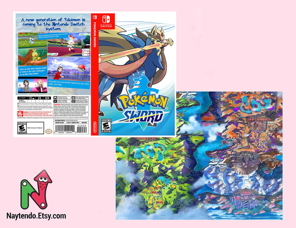 Pokemon Sword - Custom Nintendo Switch Art Cover w/ Game Case