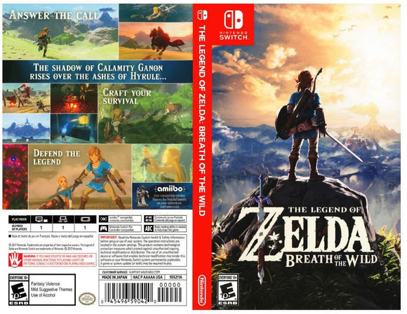 The Legend of Zelda: Breath of the Wild - Custom Nintendo Switch Art Cover w/ Game Case