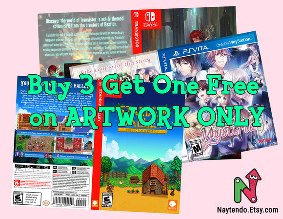 BUY 3 GET 1 FREE Artwork Only (No Case/No Game) - Custom Nintendo Switch Cover Art