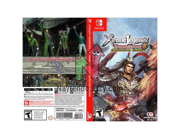 DYNASTY WARRIORS 8: Xtreme Legends Definitive Edition - Custom Nintendo Switch Art Cover w/ Game Case