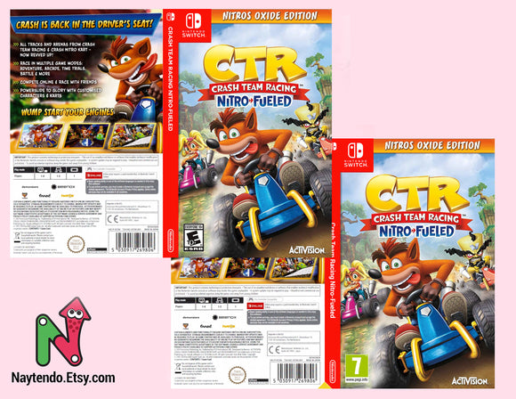 Crash Team Racing Nitros Oxide Edition - Nintendo Switch Online - Custom Nintendo Switch Art Cover w/ Game Case