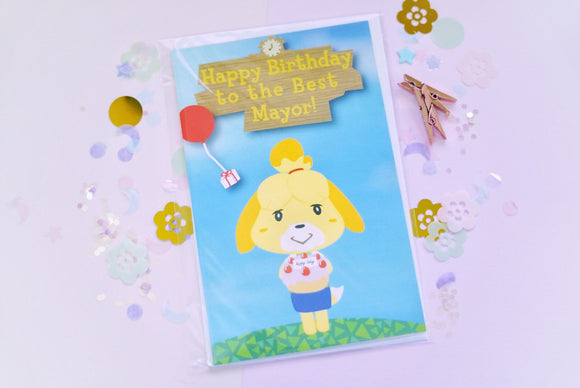 Animal Crossing Isabelle - Happy Birthday to the Best Mayor Greeting Card