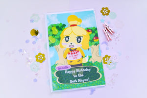Animal Crossing Isabelle Version 2 - Happy Birthday to the Best Mayor Greeting Card