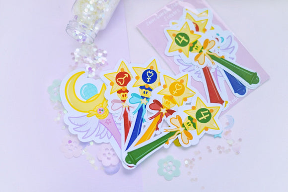 Sailor Guardian Wands Holographic Stickers | Sailor Moon | Kawaii | Anime | Magical Girls