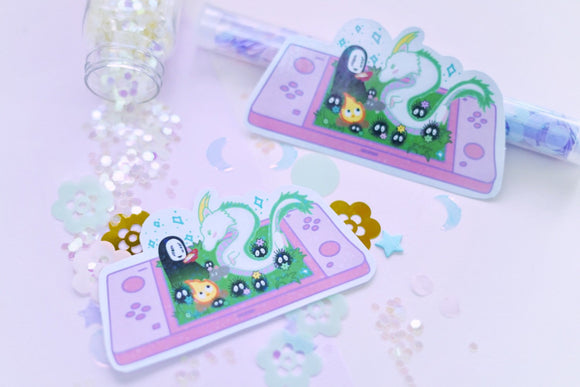 Spirited Away on the Nintendo Switch Holographic Sticker | No Face | Haku | Sprites | Kawaii | Ghibli Studio