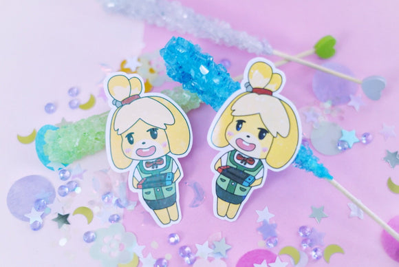 Isabelle on the Nintendo Switch Holographic Sticker | Animal Crossing | New Leaf | New Horizon | Kawaii