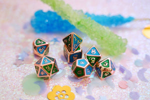 Earth and Water Green and Blue ROSE Gold METAL DnD Dice Set | Table Top RPG | Polyhedral Dice | Dungeons and Dragons | Critical Role