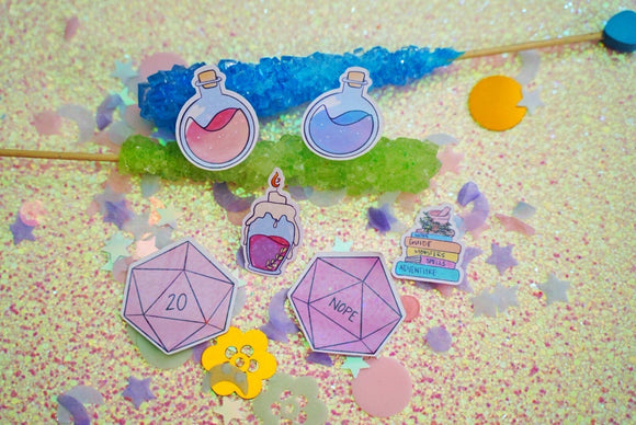 Dungeons and Dragons Starter Kit Holographic Sticker Set | Potion | D20 | Dice | Kawaii | Stationary | Bat