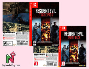 Resident Evil Triple Pack (Resident Evil 4, 5 ,6) - Custom Nintendo Switch Art Cover w/ Game Case