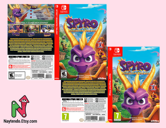 Spyro Reignited Trilogy - Custom Nintendo Switch Art Cover w/ Game Case