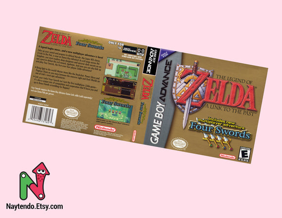 The Legend of Zelda: A Link to the Past | Four Swords - Custom Nintendo Gameboy Advanced Cover w/ Game Case