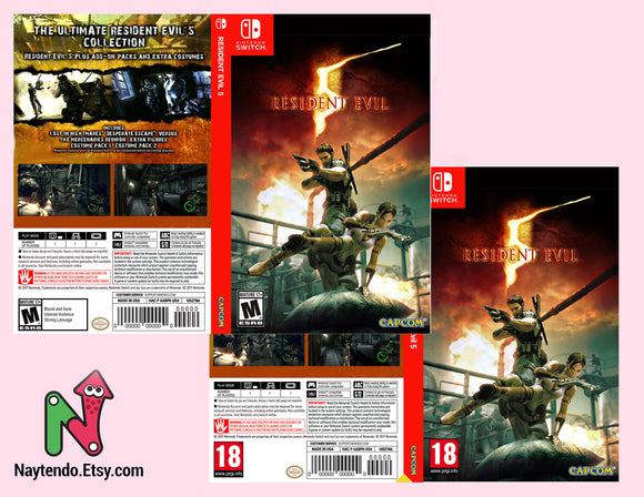 Resident Evil 5 - Custom Nintendo Switch Art Cover w/ Game Case