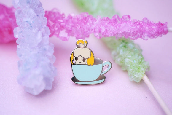Tea Cup Isabelle Hard Enamel Pin | Animal Crossing