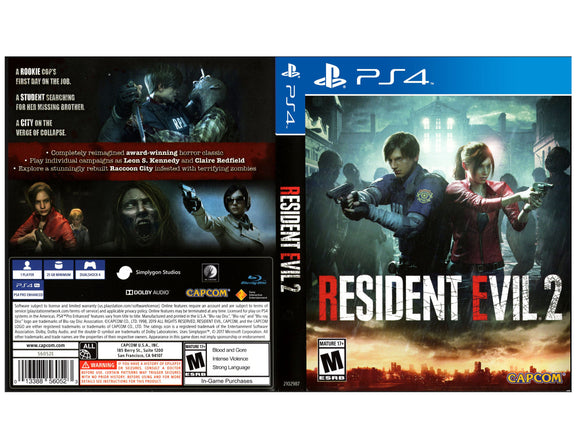 Resident Evil 2 - Custom PS4 Art Cover w/ Game Case