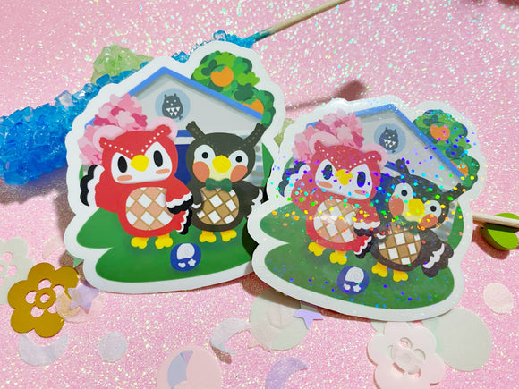 Animal Crossing - Celeste and Blathers Museum VINYL Sticker Holographic or Gloss
