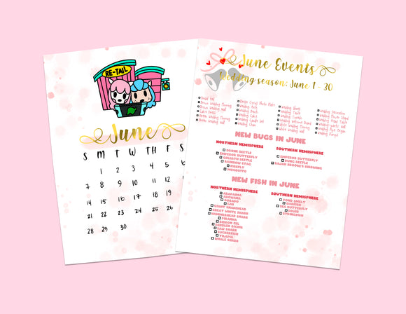 Animal Crossing: New Horizons June Checklist | Nintendo | Planner | Kawaii | Bullet Journal