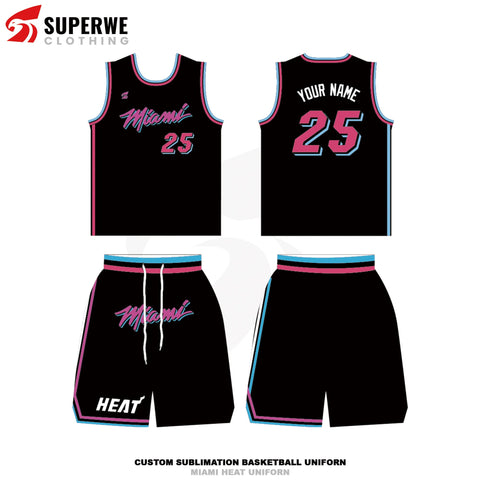 Custom Black Miami Heat NBA Basketball Jersey - Superwe clothing