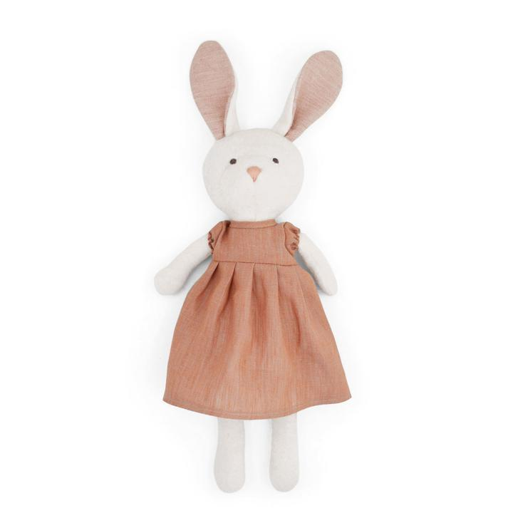 Emma Rabbit in Clay Linen Dress