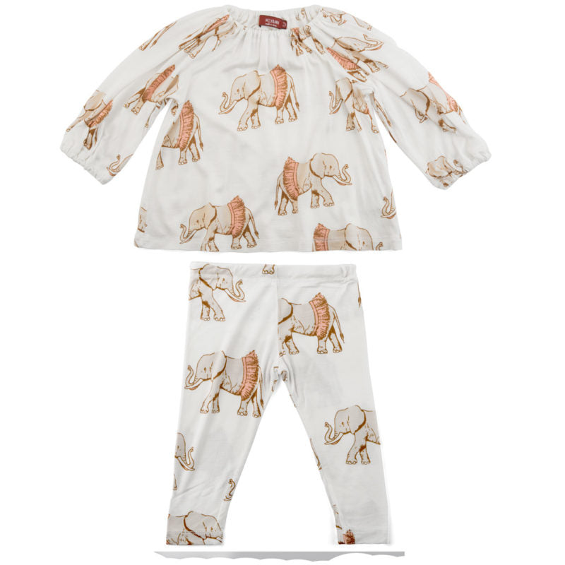 LONG SLEEVE DRESS AND LEGGING SET TUTU ELEPHANT 12-18M