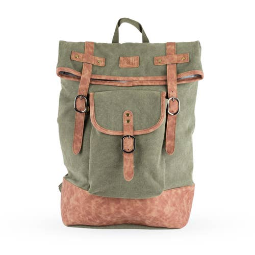 Insulated Canvas Cooler Backpack in Green