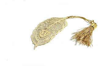 Feather Bookmark with Tassel Golden Finish