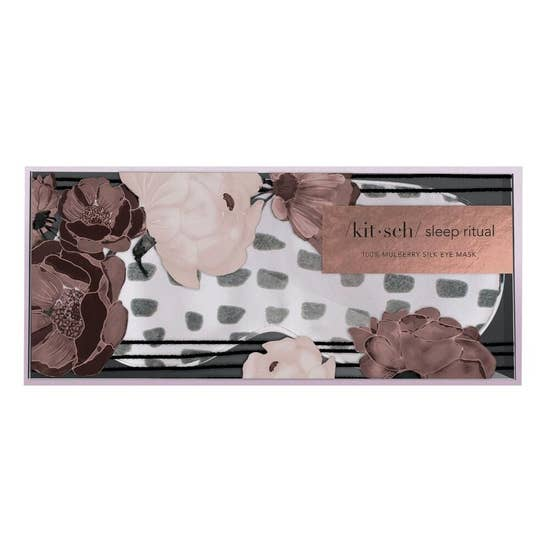Lavender Dot Silk Eye Mask with Print