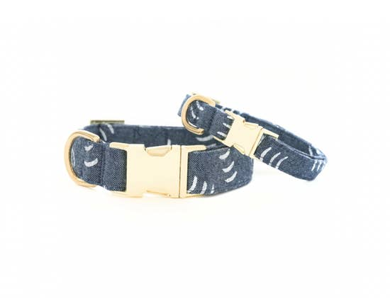 Denim Waves Dog Collar S / Gold